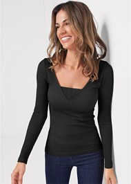 Front View Ribbed Mesh Seamless Top