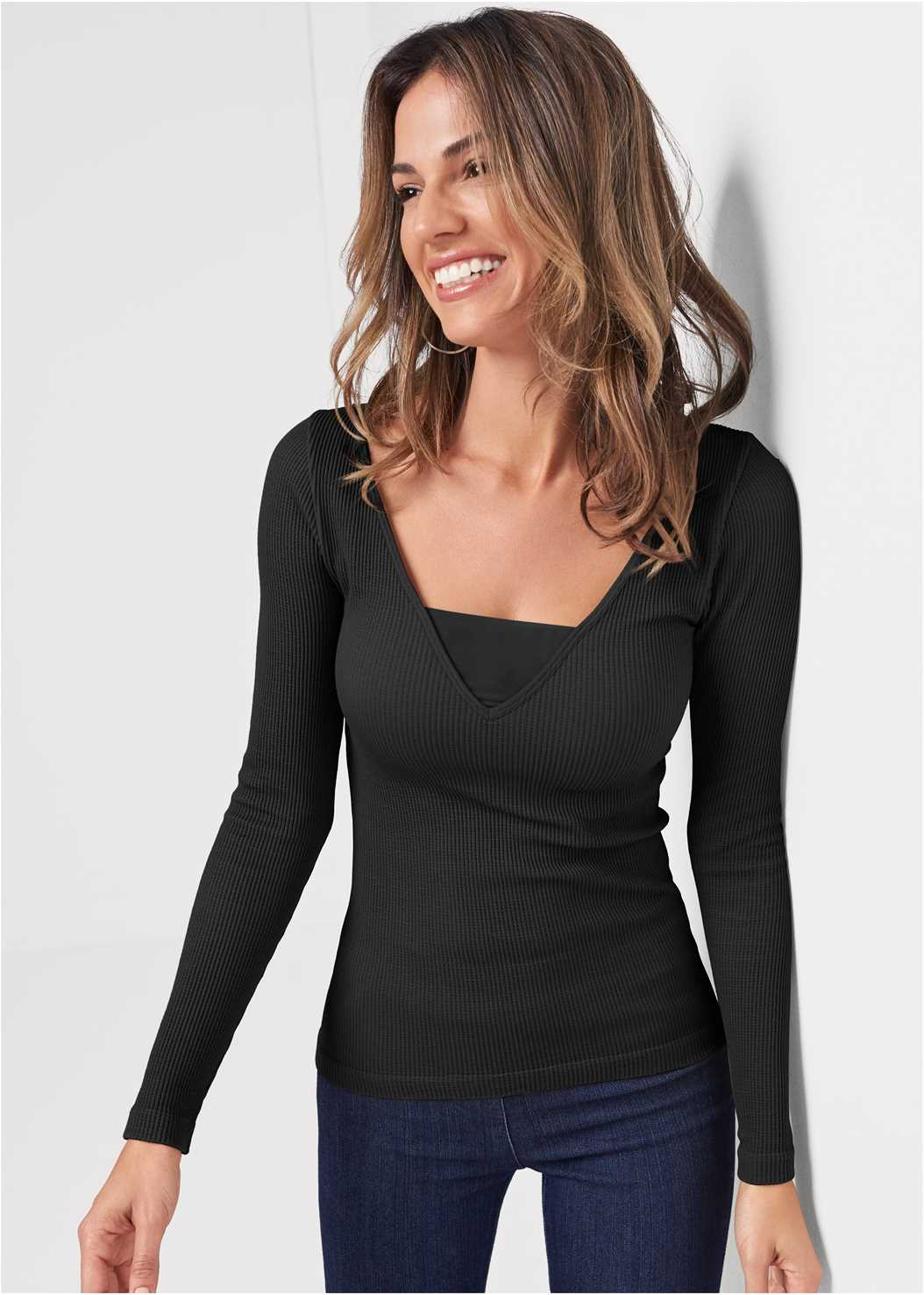 Ribbed Mesh Seamless Top,Mid Rise Slimming Stretch Jeggings