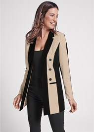 Cropped front view Color Block Long Blazer