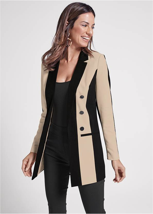 Color Block Long Blazer,Basic Cami Two Pack,Mid Rise Slimming Stretch Jeggings,High Heel Strappy Sandals,Circle Drop Earrings,Ring Detail Oversized Bag,Animal Chain Crossbody Bag