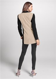 Full back view Color Block Long Blazer