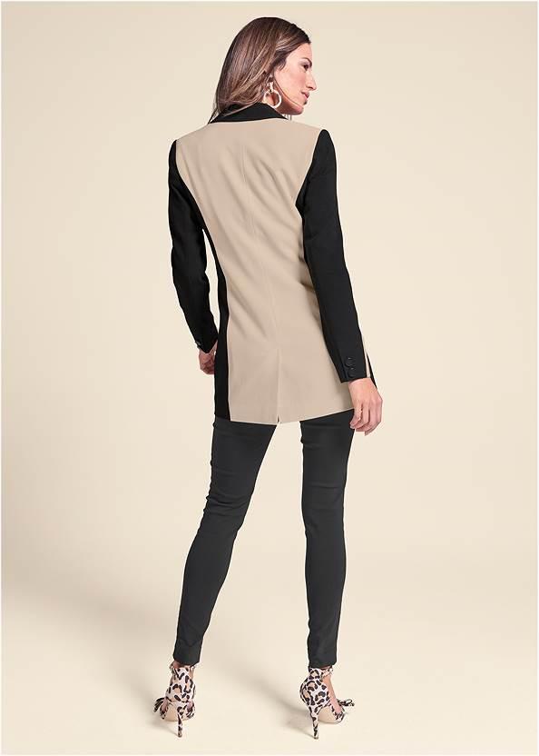 Full back view Color Block Long Blazer