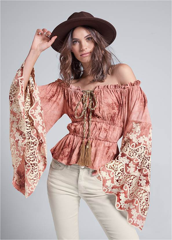 Off Shoulder Tie Dye Top,Mid Rise Color Skinny Jeans,Wrap Stitch Detail Booties,Embellished Western Boots