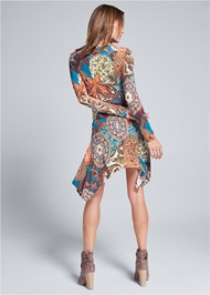 Full back view Printed Handkerchief Dress