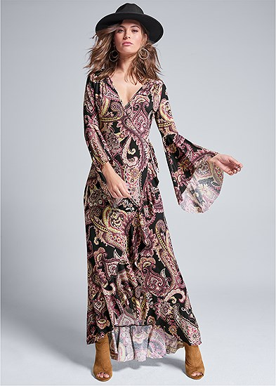 Paisely Printed Wrap Dress