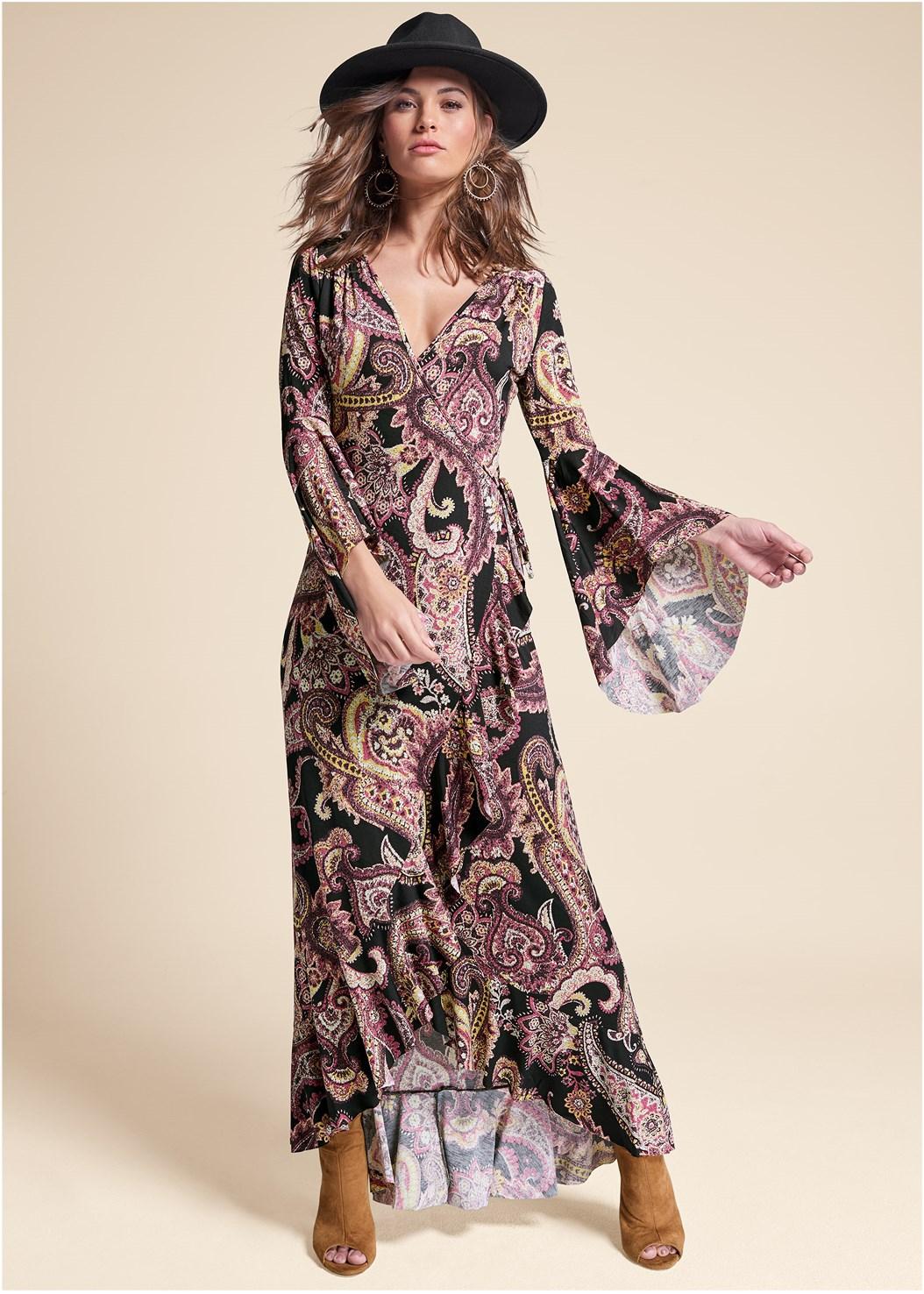Paisely Printed Wrap Dress,Cupid U Plunge Bra,Open Heel Booties,Studded Matte Hoops