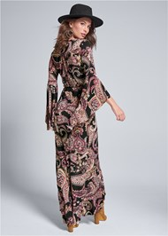 Full back view Paisely Printed Wrap Dress
