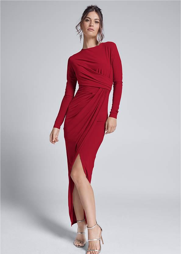 Drape Front Long Dress