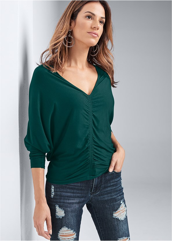 Casual Ruched Top,Ripped Bum Lifter Jeans,Naked T-Shirt Bra,Wrap Stitch Detail Booties,Studded Matte Hoops