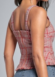 Back View Lace Up Tweed Top
