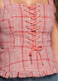 Alternate View Lace Up Tweed Top