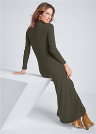 Full back view Ribbed Mock Neck Long Dress