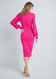 Full back view Ruched Midi Bodycon Dress