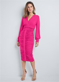 Full front view Ruched Midi Bodycon Dress