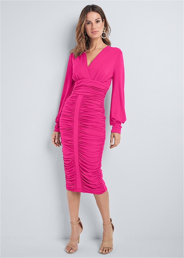 Ruched Midi Bodycon Dress,Kissable Convertible Bra,High Heel Strappy Sandals