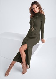 Full front view Ribbed Mock Neck Long Dress