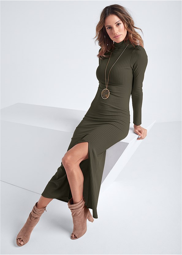 Ribbed Mock Neck Long Dress,Peep Toe Booties,Naked T-Shirt Bra,Long Pendant Necklace