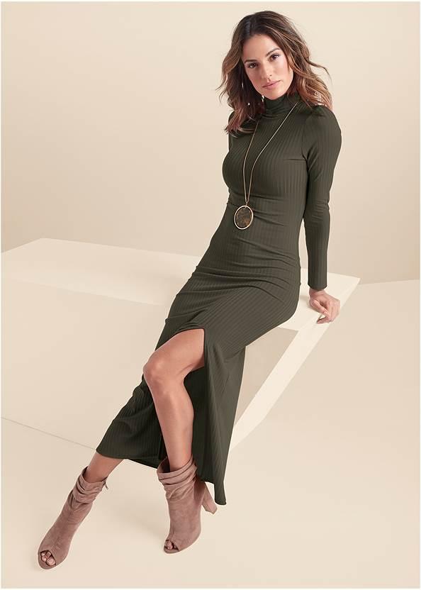 Ribbed Mock Neck Long Dress