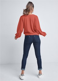 Full back view Waffle Knit Lounge Top