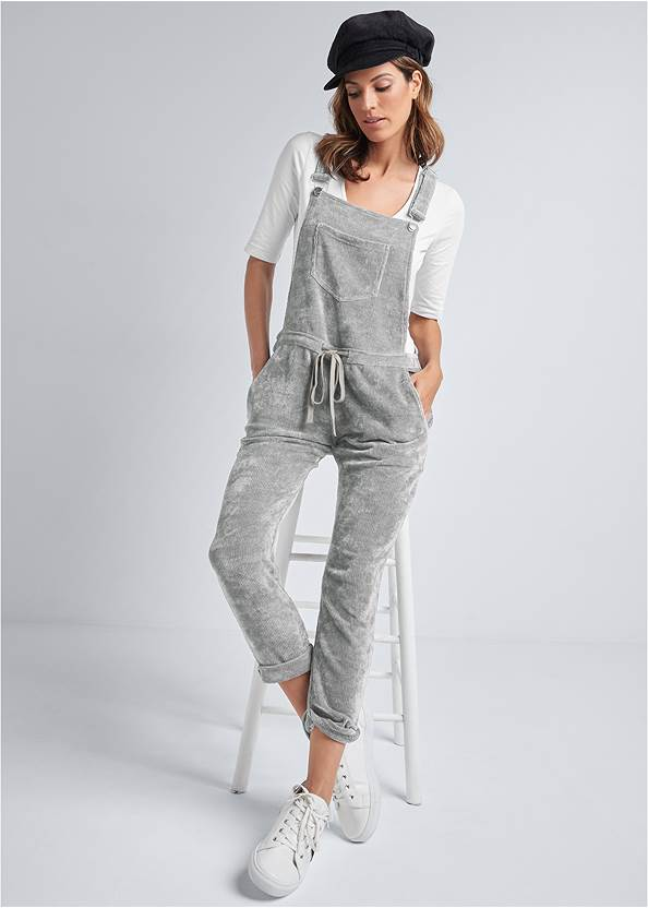 Chenille Lounge Overalls,Long And Lean V-Neck Tee,Seamless Lace Comfort Bra