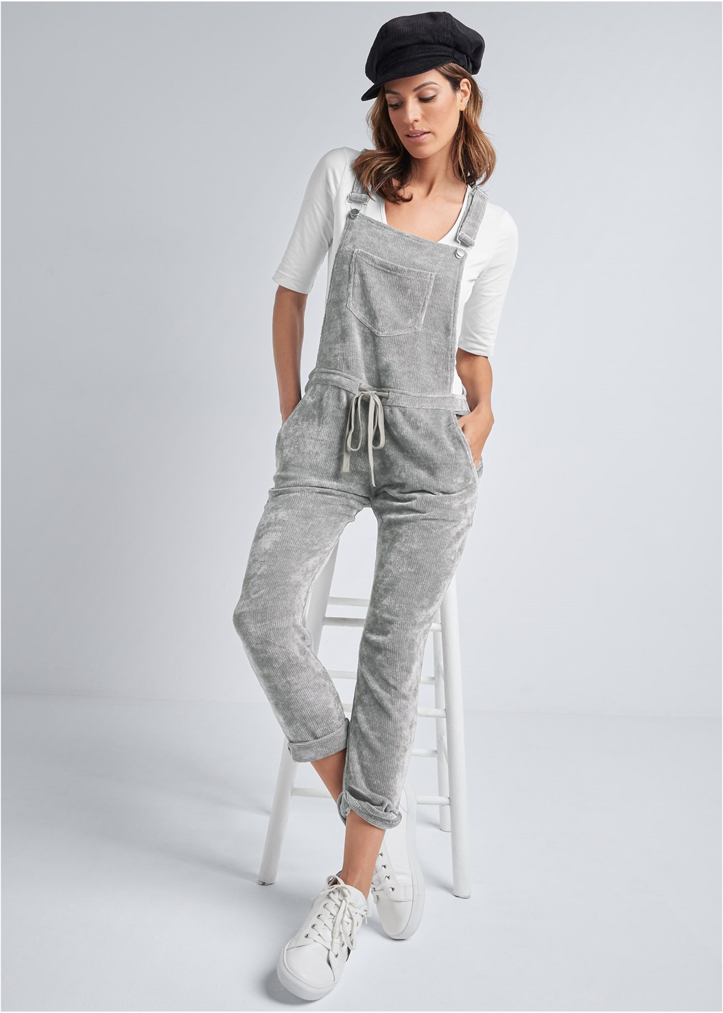Chenille Lounge Overalls,Long And Lean V-Neck Tee,Seamless Lace Comfort Bra,Embellished Striped Sneaker