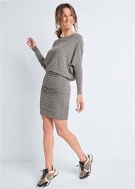 Full Front View Dolman Sleeve Lounge Dress