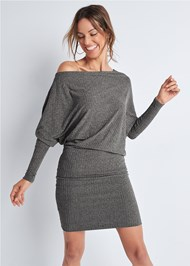 Cropped front view Dolman Sleeve Lounge Dress