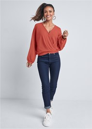 Full front view Waffle Knit Lounge Top