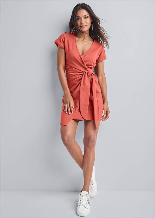 Full front view French Terry Wrap Dress