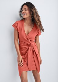 Cropped front view French Terry Wrap Dress