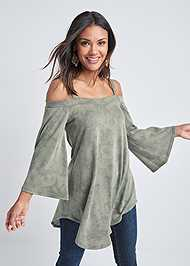 Front View Cold Shoulder Tunic Top