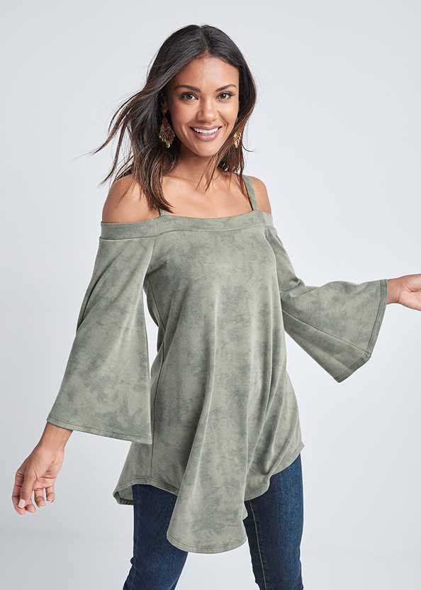 Cold Shoulder Tunic Top,Mid Rise Color Skinny Jeans