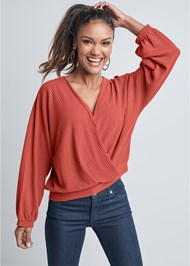 Cropped front view Waffle Knit Lounge Top