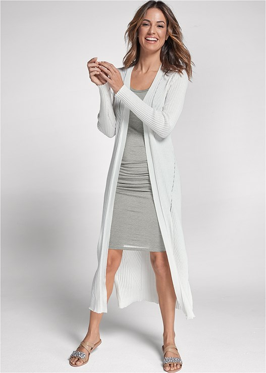 LONG RIBBED DUSTER,RUCHED TANK DRESS,MEDALLION EARRINGS,EMBELLISHED SANDALS