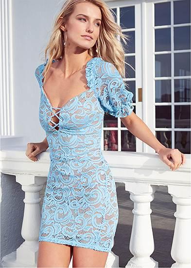 Puff Sleeve Lace Mini Dress