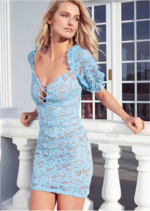 Puff Sleeve Lace Mini Dress