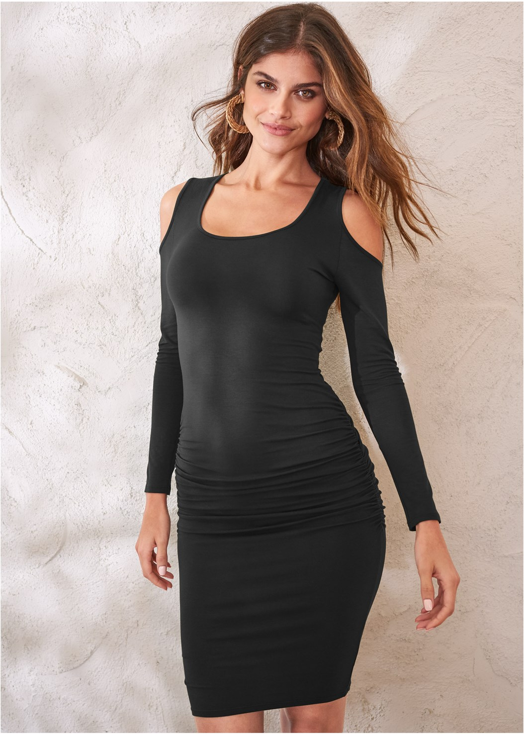 Cold Shoulder Casual Dress,Push Up Bra Buy 2 For $40