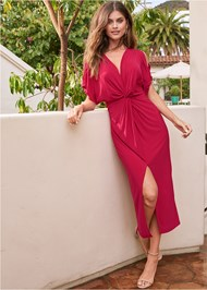 Front View Knot Front Midi Dress