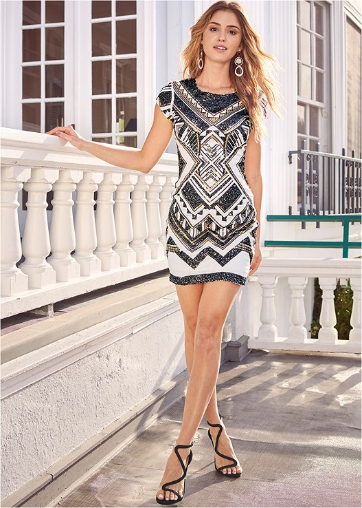 EMBELLISHED BODYCON DRESS,EVERYDAY YOU STRAPLESS BRA,SHAPING BUSTLESS SLIP,ASYMMETRICAL STRAPPY HEELS,EMBELLISHED HEELS,RING HANDLE CIRCLE CLUTCH