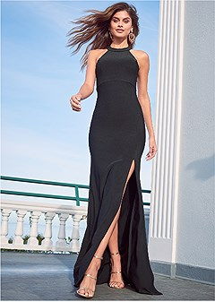 lace back detail gown