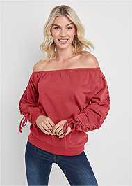 Front View Lace Up Sleeve Sweatshirt