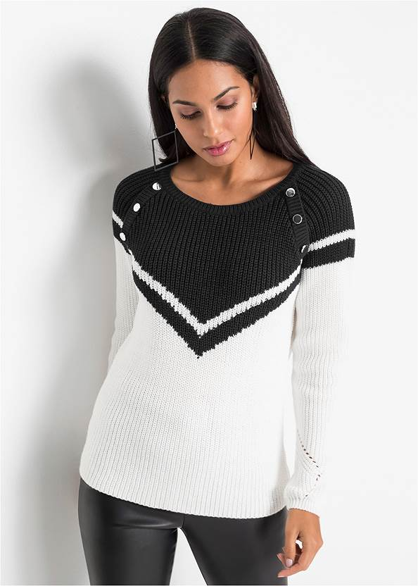 Crew Neck Sweater,Faux Leather Pants