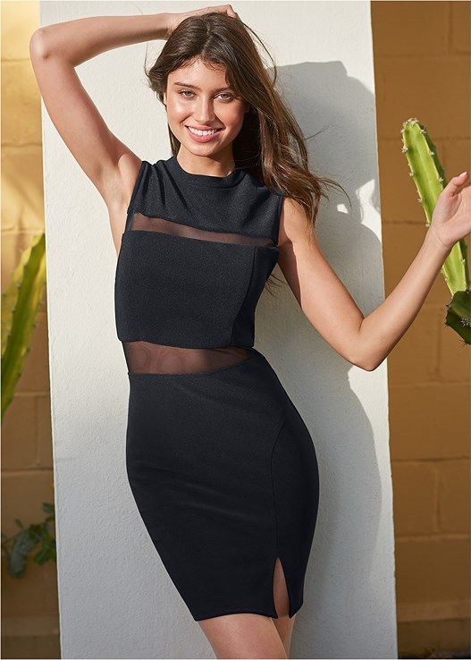 MESH DETAIL BODYCON DRESS,EVERYDAY YOU STRAPLESS BRA,EMBELLISHED LUCITE HEEL,HOOP SET