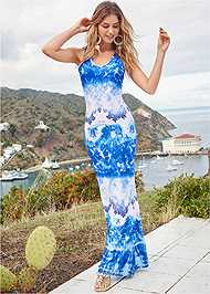 Front View Crochet Printed Maxi Dress