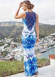 Back View Crochet Printed Maxi Dress