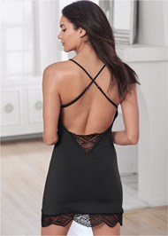 Cropped back view Strappy Lace Detail Chemise