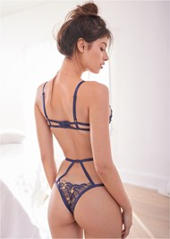 Back View Floral Lace Bra And Panty Set