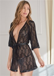 Cropped Front View Geo Print Sheer Robe