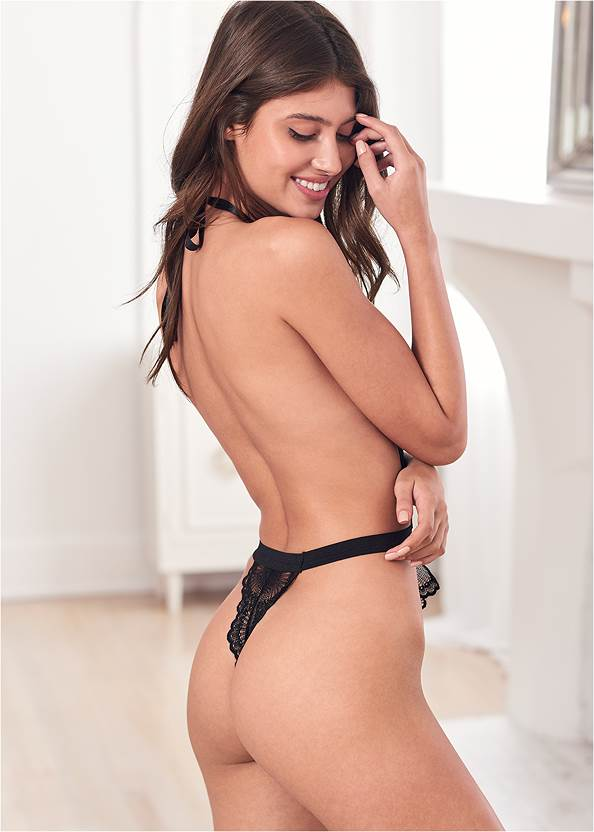 Back View Open Back Lace Bodysuit