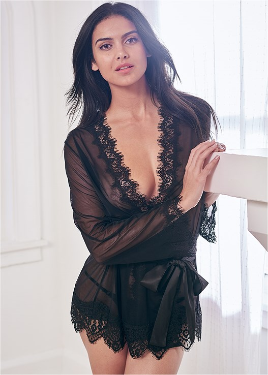 SHEER ROBE WITH LACE TRIM